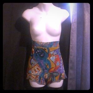 Vintage Multi-Colored Velvet High Waisted Shorts